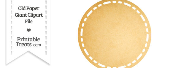 Old Paper Giant Stitched Circle Clipart