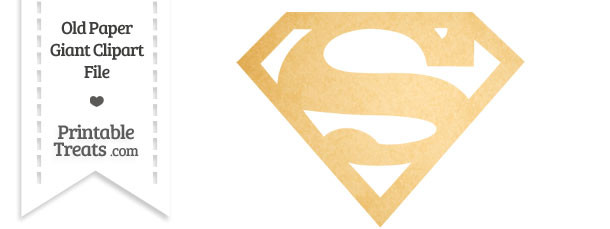 Old Paper Giant Superman Symbol Clipart