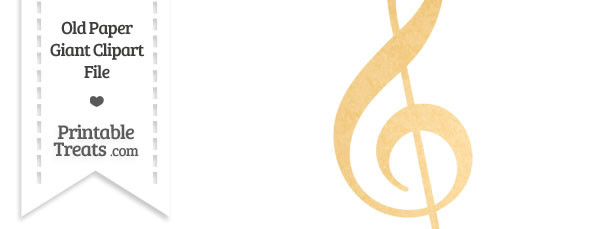 Old Paper Giant Treble Clef Clipart