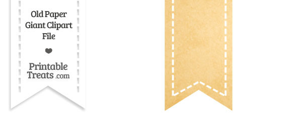 Old Paper Giant Vertical Stitched Ribbon Clipart
