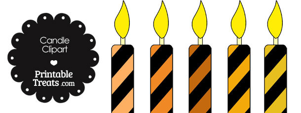Orange and Black Candle Clipart
