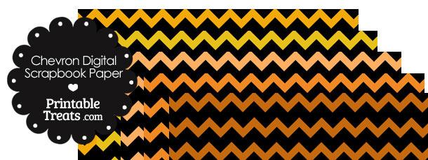 Orange and Black Chevron Digital Scrapbook Paper