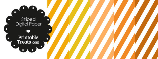 Orange and White Diagonal Striped Digital Scrapbook Paper