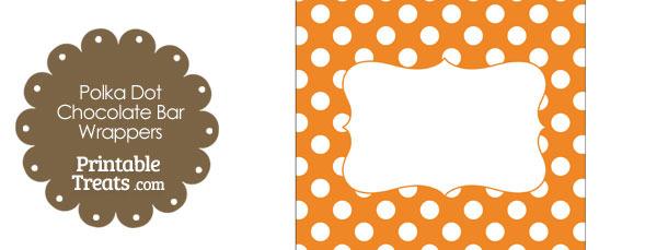 Orange and White Polka Dot Chocolate Bar Wrappers