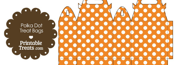 Orange and White Polka Dot Treat Bags to Print