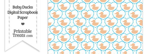 Orange Baby Ducks Digital Scrapbook Paper