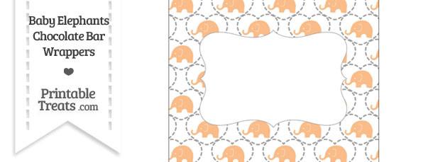 Orange Baby Elephants Chocolate Bar Wrappers