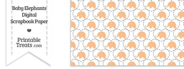 Orange Baby Elephants Digital Scrapbook Paper