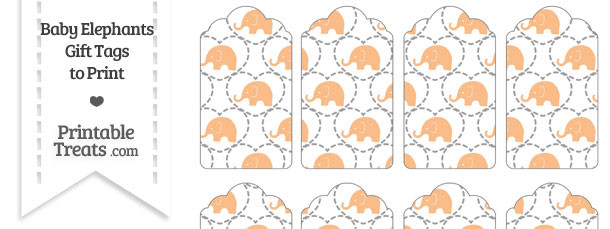 Orange Baby Elephants Gift Tags