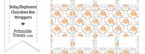 Orange Baby Elephants Mini Chocolate Bar Wrappers