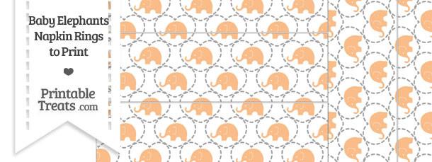 Orange Baby Elephants Napkin Rings