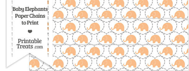 Orange Baby Elephants Paper Chains
