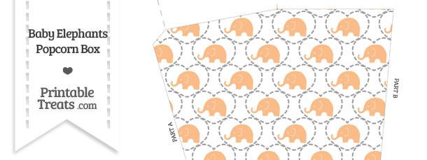 Orange Baby Elephants Popcorn Box