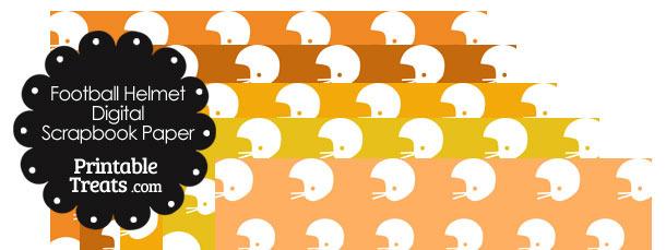 Orange Background Football Helmet Digital Scrapbook Paper