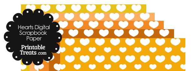 Orange Background Heart Digital Scrapbook Paper