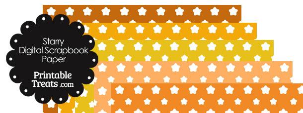 Orange Background Star Digital Scrapbook Paper