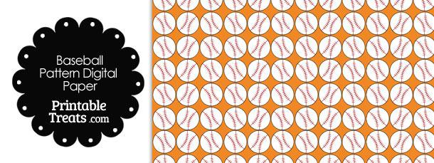 Orange Baseball Pattern Digital Scrapbook Paper