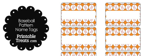 Orange Baseball Pattern Name Tags