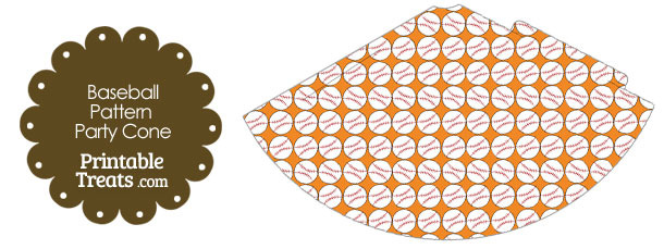 Orange Baseball Pattern Party Cone