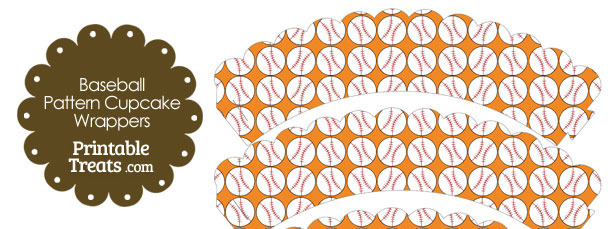 Orange Baseball Pattern Scalloped Cupcake Wrappers