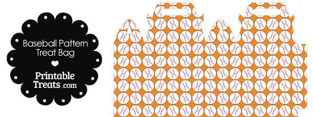 Orange Baseball Pattern Treat Bag