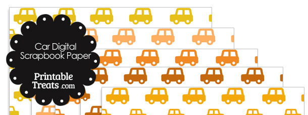 Orange Car Digital Scrapbook Paper