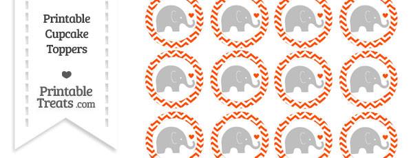 Orange Chevron Baby Elephant Cupcake Toppers