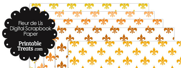 Orange Fleur de Lis Digital Scrapbook Paper
