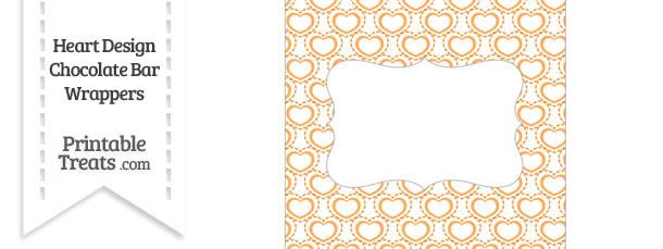 Orange Heart Design Chocolate Bar Wrappers