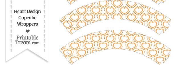 Orange Heart Design Cupcake Wrappers