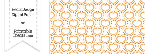 Orange Heart Design Digital Scrapbook Paper