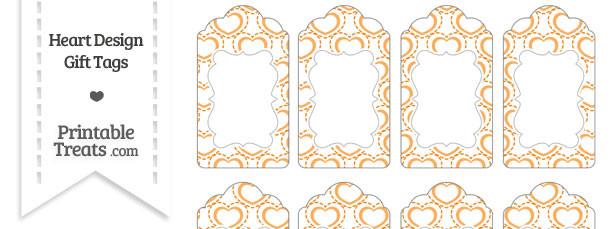 Orange Heart Design Gift Tags