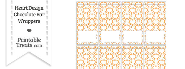 Orange Heart Design Mini Chocolate Bar Wrappers