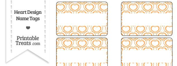 Orange Heart Design Name Tags