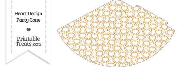 Orange Heart Design Party Cone