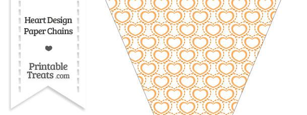 Orange Heart Design Pennant Banner Flag