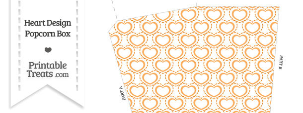 Orange Heart Design Popcorn Box