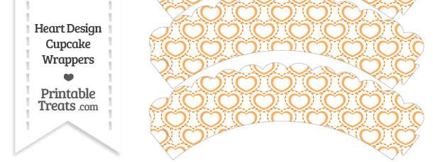 Orange Heart Design Scalloped Cupcake Wrappers