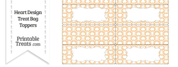 Orange Heart Design Treat Bag Toppers