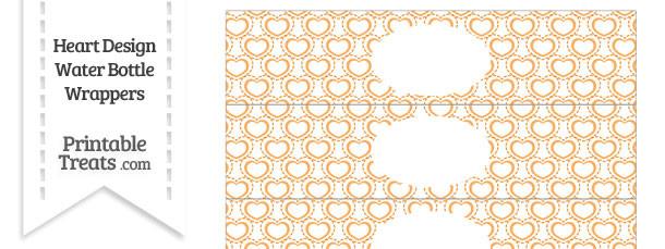 Orange Heart Design Water Bottle Wrappers
