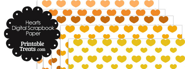 Orange Hearts Digital Scrapbook Paper