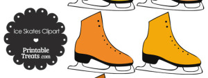 Orange Ice Skates Clipart