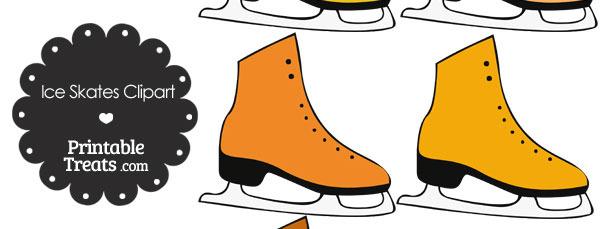 Orange Ice Skates Clipart