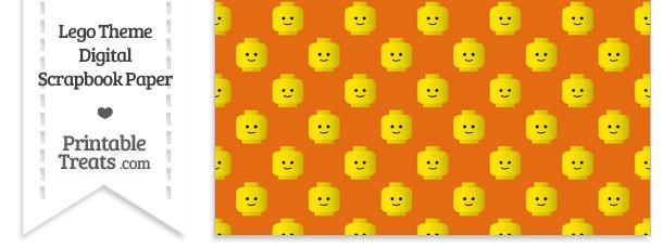 Orange Lego Theme Digital Scrapbook Paper