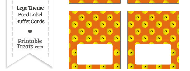 Orange Lego Theme Food Label Buffet Cards