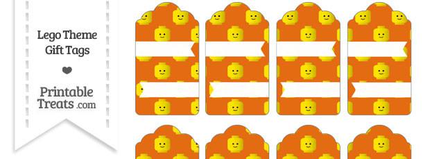 Orange Lego Theme Gift Tags