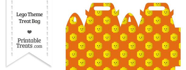 Orange Lego Theme Treat Bag