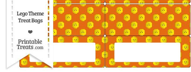 Orange Lego Theme Treat Bag Toppers