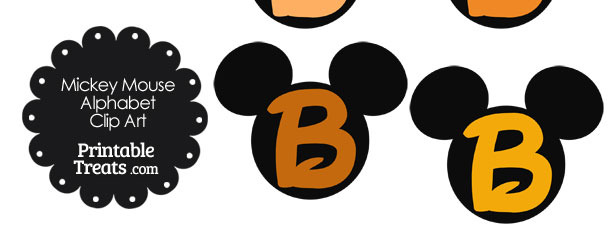 Orange Mickey Mouse Head Letter B Clipart
