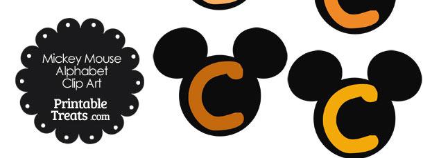 Orange Mickey Mouse Head Letter C Clipart
